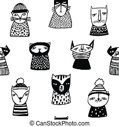 Seamless pattern with funny cartoon cats muzzles. Hand drawn doodle kitty on white background.