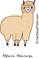 Alpaca hand drawn vector illustration on white background. -...