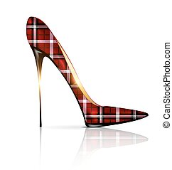 white and plaid shoe - white background and the red plaid...