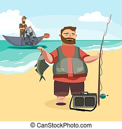 Happy fisherman stands and holds in hand fishing rod with spinning and fish catch, bag with fishman spin and equipment, funny cartoon vector illustration, Man active vacation banner or Flyer concept