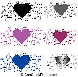 Heart with notes on white background