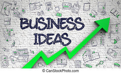 Business Ideas Drawn on Brick Wall. 3d. - Business Ideas -...