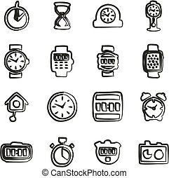 Clock Icons Set 2 Freehand - This image is a illustration...