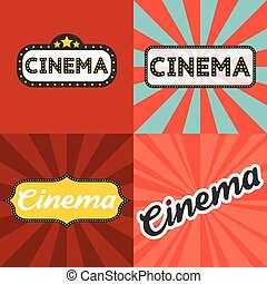 Cinema headline in retro frame with sunburst background, flat design