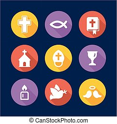 Christianity Icons Flat Design Circle - This image is a...
