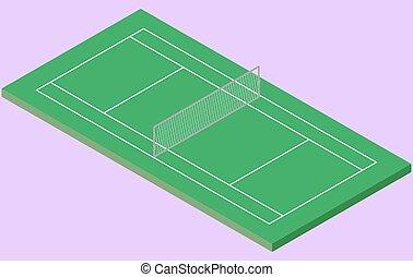 Isometric Tennis court in vector