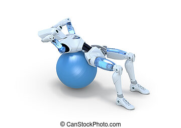 Robot Doing Sit Ups on Exercise Ball - 3d render of a robot...