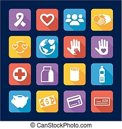 Charity Icons Flat Design