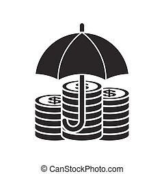 Money under umbrella icon