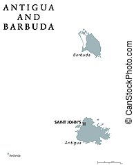 Antigua and Barbuda political map with capital Saint Johns....