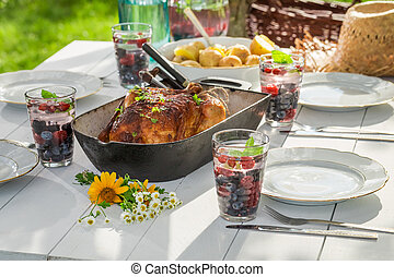 Healthy dinner with chicken and potatoes served in the garden
