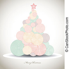 Christmas tree with swirls, xmas card. Vector