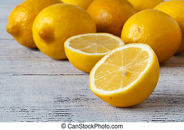 Closeup of Lemons Freshly Picked Off Tree, Making for a...
