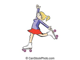 Blonde Woman on roller skates - isolated