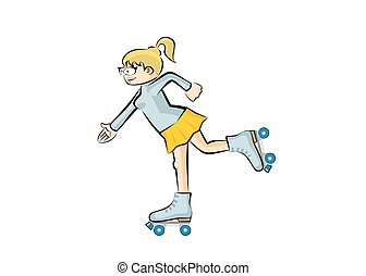 Blonde girl on roller skates - isolated