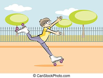 Girl skating in the square. Conceptual illustration about...