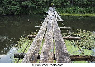 wooden rope bridge