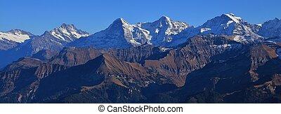 Jungfrau, montagna, serie,  Eiger,  monch