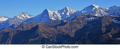 Jungfrau, montagne,  Eiger,  finsteraarhorn,  monch