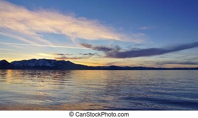 Sunset on Tahoe lake - Panoramic time-lapse of Tahoe lake...