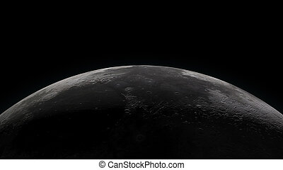 Moon horizon with partially lit surface - Close up of the...