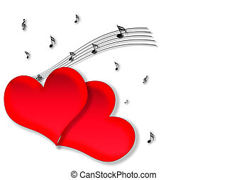 Love and music - Two hearts neighbors, scattered notes and...