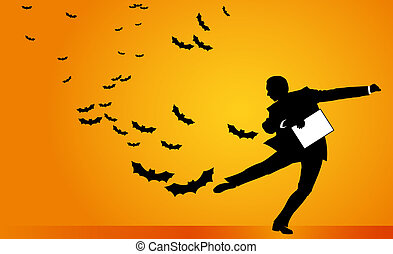 Halloween Business Man Vector - Dynamic business man dealing...