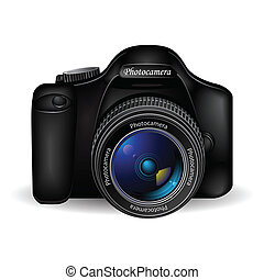 Vector photo camera over white background