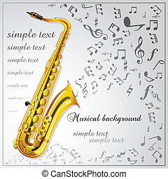 Saxophone. Musical background - Background with a saxophone...