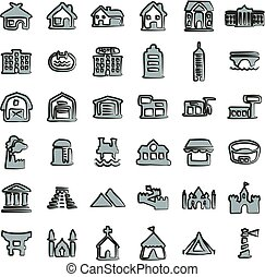 Buildings Icons Freehand 2 Color