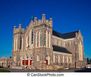 church in nova scotia - Grey brick gothic Church in Nova...