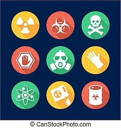 Biohazard Icons Flat Design Circle