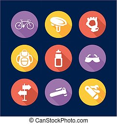 Biking Icons Flat Design Circle