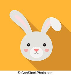 Grey rabbit with long ears. Easter single icon in flat style...