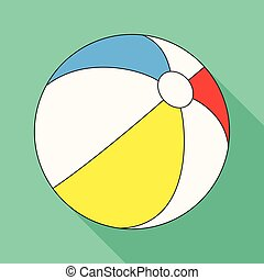 Inable multicolored ball.Summer rest single icon in flat...