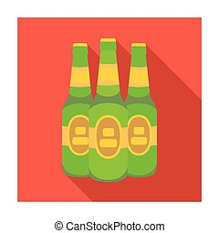 Green glass beer bottles. Alcoholic drink pub. Pub single...