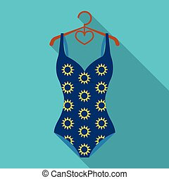 Blue swimsuit with sunflowers. Swimsuit for swimming in the...