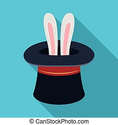 Ears of a hare in a hat. Foci.Party and parties single icon in flat style vector symbol stock illustration.