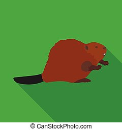 Canadian beaver. Canada single icon in flat style vector...