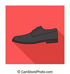 Mens leather shiny shoes with laces. Shoes to wear with a suit.Different shoes single icon in flat style vector symbol stock illustration.