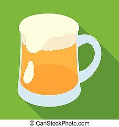 A glass of foamy Belgian beer.The dark Belgian wolf. Belgium...