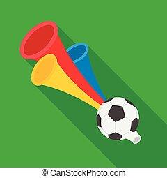 Trumpet football fan.Fans single icon in flat style vector...