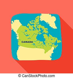 Map of Canada. Canada single icon in flat style vector symbol stock illustration web.