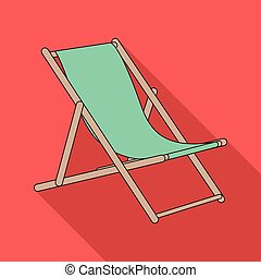 The seat for sunbathing on the beach.Summer rest single icon...