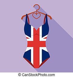 Women swimsuit closed with the flag of America. Swimsuit for...