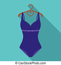 Bright purple swimsuit with bows for girls.Beach wear...