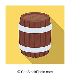Oak barrel beer. A barrel in which beer is brewed. Pub single icon in flat style vector symbol stock illustration.