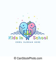 Kids School Abstract Vector Sign, Emblem or Logo Template. Cheerful Funny Whales with Book Illustration. Isolated