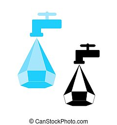 Water conservation logo, Water droplet icon and tap. Logo...