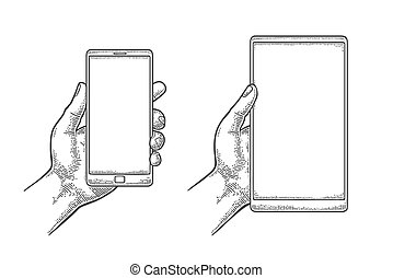 Male hand holding a modern mobile phone. Vintage drawn...